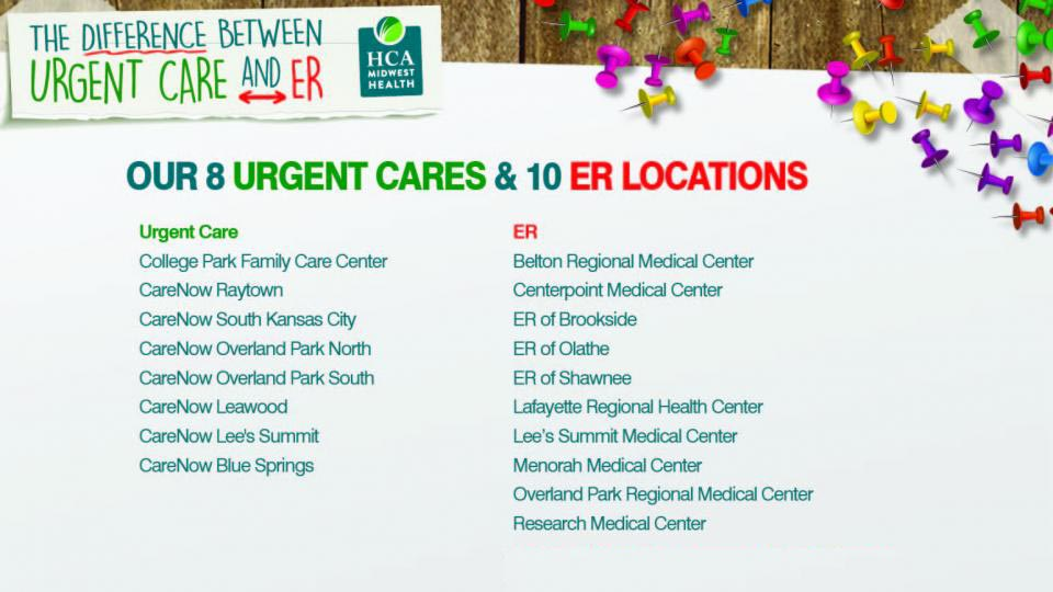 Our 8 Urgent Care Centers and 10 ER Locations